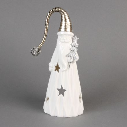 White Ceramic Santa with Metal Hat Christmas Tea Light Holder